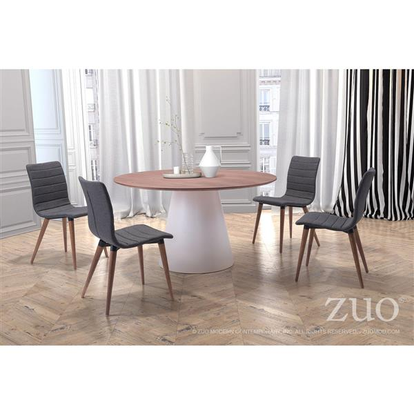 Zuo Modern Jericho Dining Chair - 18.5-in - Fabric - Grey - Set of 2