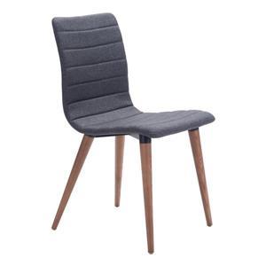 Chaise de salle à manger Jericho de Zuo Modern, 18,5 po, tissu, gris, ens. de 2