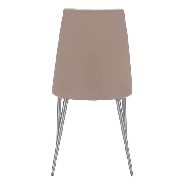 Zuo Modern Whisp Dining Chair - 18-in - Faux Leather - Beige - Set of 2