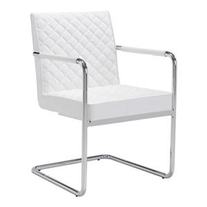 Zuo Modern Quilt Dining Chair - 18-in x 19.7-in - Faux Leather - White - Set of 2