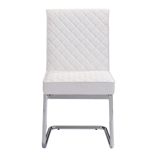 Zuo Modern Quilt Dining Chair - 18-in - Faux Leather - White - Set of 2