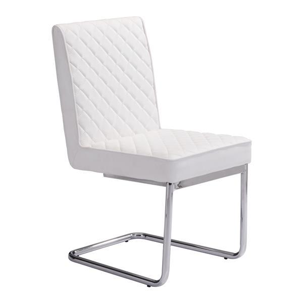 Chaise de salle à manger Quilt de Zuo Modern, 18 po, simili-cuir, blanc, ens. de 2