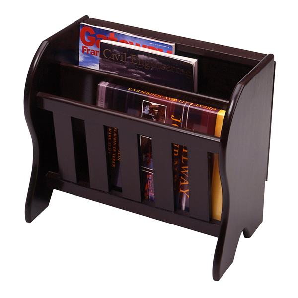 Winsome Wood Romeo 16.4-in Espresso Wood Veneer Magazine Rack