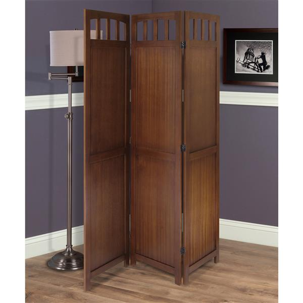Winsome Wood William 52.4-in x 70-in Walnut Finish 3 Panel Room Divider