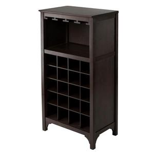 Winsome Wood Ancona Modular Wine Cabinet - 20-Bottle - Wood - Brown