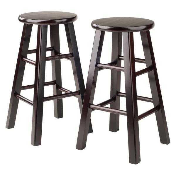 """Tabourets de bar Pacey, 24"""", bois, brun, ens. de 2"""