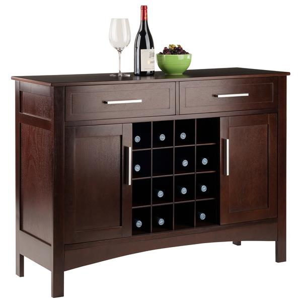 Winsome Wood Buffet Cabinet 43.7-in x 32.2-in Cappuccino