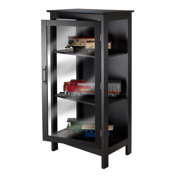 Winsome Wood Poppy Display Cabinet 23.62-in x 47.24-in Black
