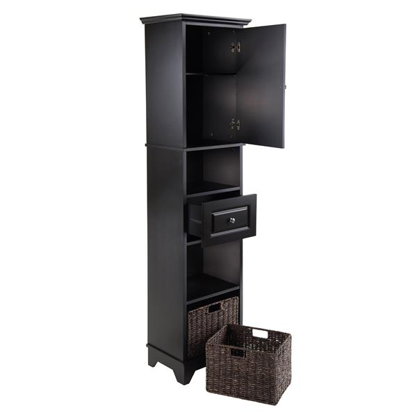Winsome Wood Wyatt Cabinet with Baskets 18.11-in x 70.87-in Black