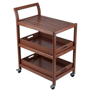 Winsome Wood Albert 15.98-in x 33.27-in Modern Brown Walnut Entertainment Cart