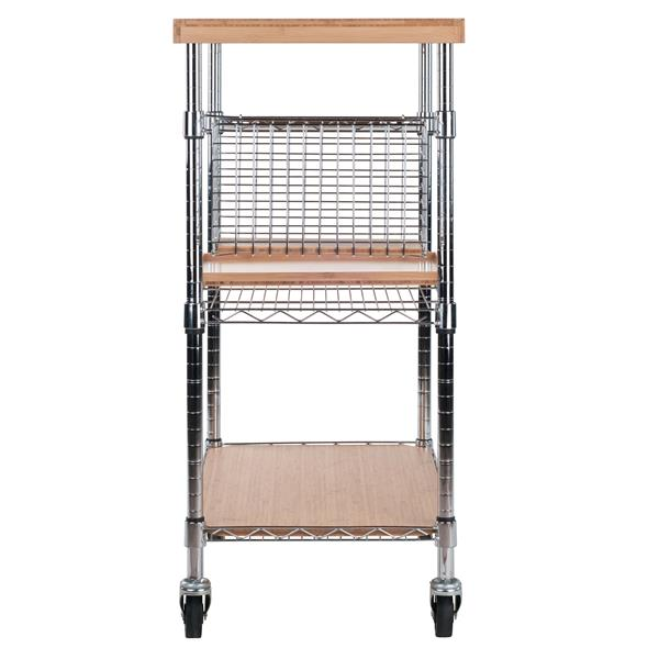 Winsome Wood Medera 17.64-in x 38.58-in Natural Bamboo Kitchen Cart