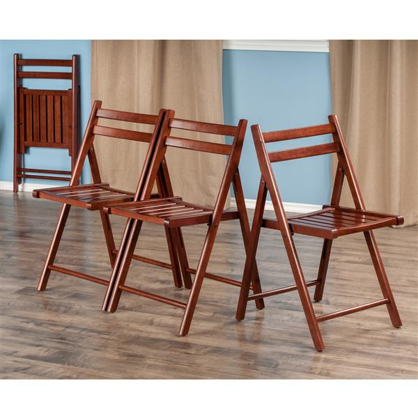 Winsome Wood Robin 17.4-in Walnut Wood Folding Chairs Set Of 4