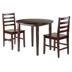 Winsome Wood Clayton 3-Piece Walnut Drop Leaf Wood Table Set with 2 Chairs