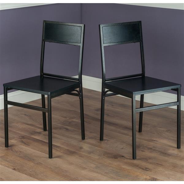 Ensemble de salle à manger Milton, bois, noir, 3 pièces