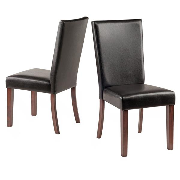 Winsome Wood 18.9-in Espresso Faux Leather Johnson Chair (Set of 2)
