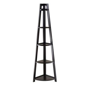 Winsome Wood Adam 58.03-in x 18.39-in x 12.99-in Black 5-Tier A-Frame Corner Shelf