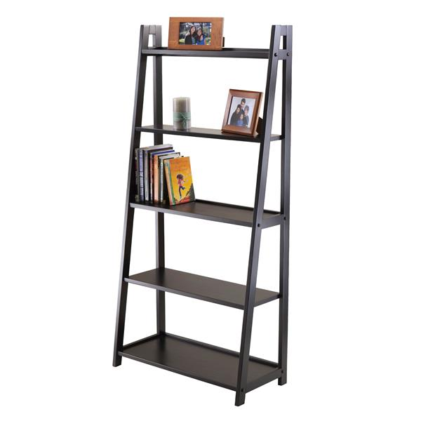 Winsome Wood Adam 58.03-in x 27.87-in x 12.99 Black 5-Tier Ladder Shelf