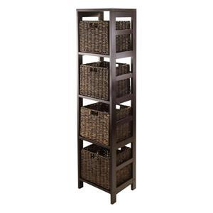 Granville 55.80-in x 13.39-in x 11.22-in Espresso 4-Basket Storage Tower Shelf