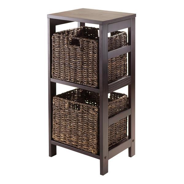 Winsome Wood Granville 29.21-in x 13.39-in x 11.22-in Espresso 2-Basket Storage Shelf