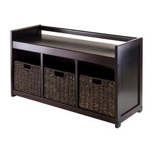 Addison Storage Bench with 3 Baskets 21-in Espresso