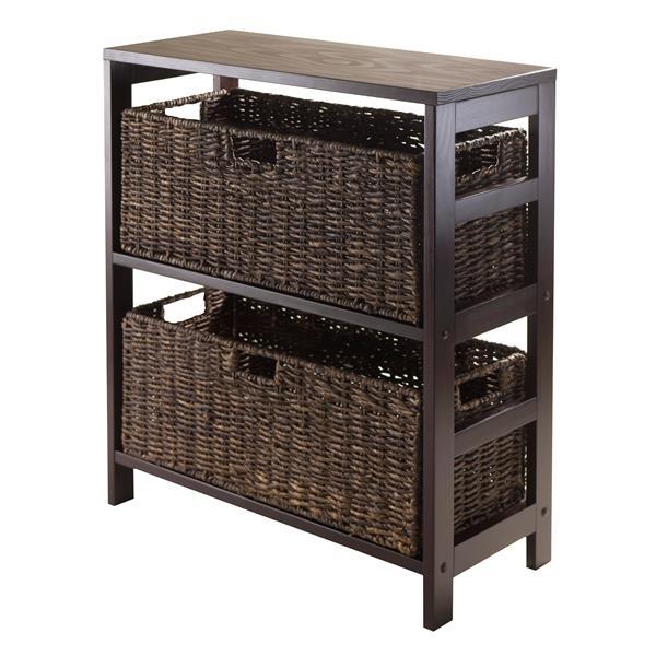 Winsome Wood Granville 29.21 x 25.20-in x 11.22-in Espresso 2-Basket Storage Shelf