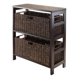 Granville 29.21 x 25.20-in x 11.22-in Espresso 2-Basket Storage Shelf