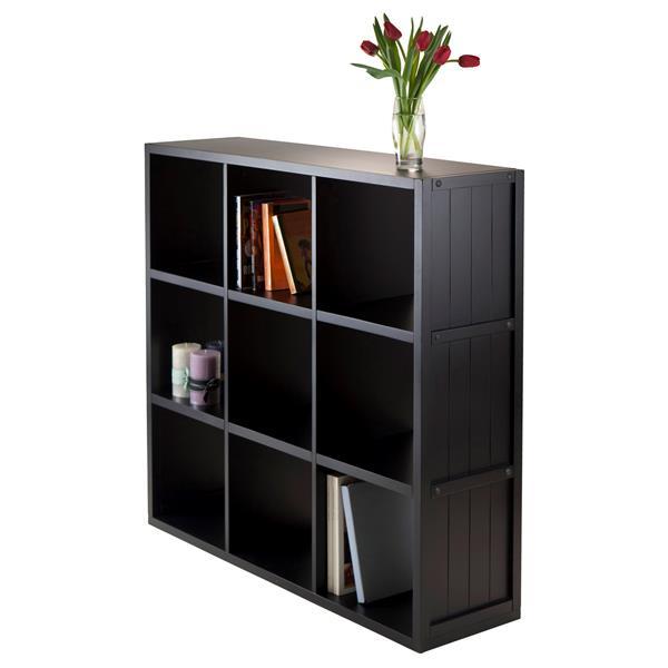 Winsome Wood Timothy 37.76 x 40.08-in 9 Cube Storage Shelf Black