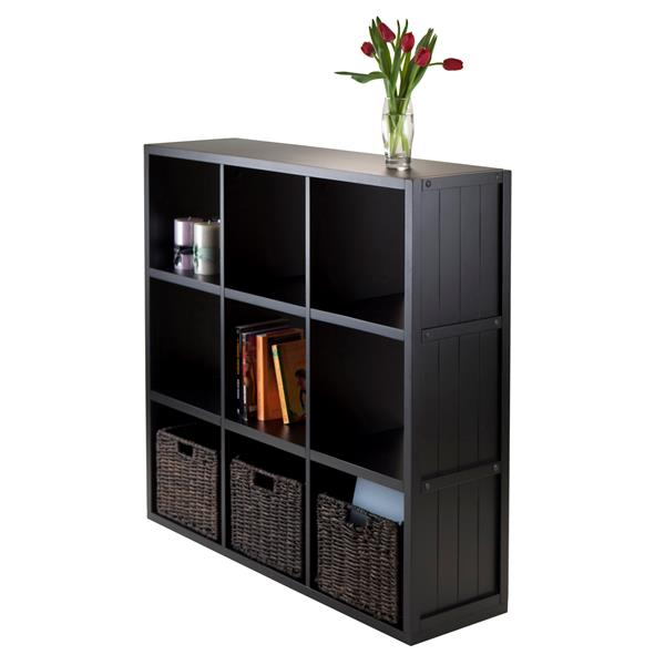 Winsome Wood Timothy 37.76 x 40.08-in 9 Cube Storage Shelf  With 3 Baskets Black