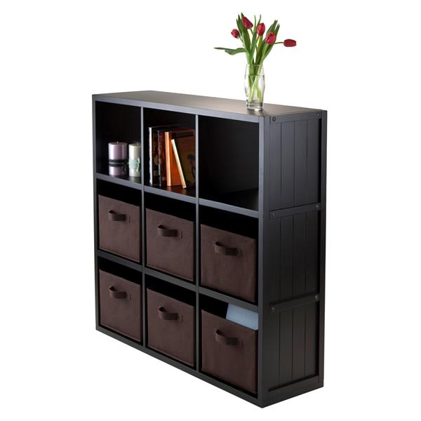 Winsome Wood Timothy 37 76 X 40 08 In 9 Cube Storage Shelf With 6 Baskets Black 20642 Rona