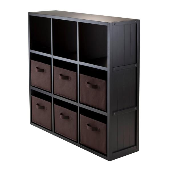 Winsome Wood Timothy 37.76 x 40.08-in 9 Cube Storage Shelf With 6 Baskets Black