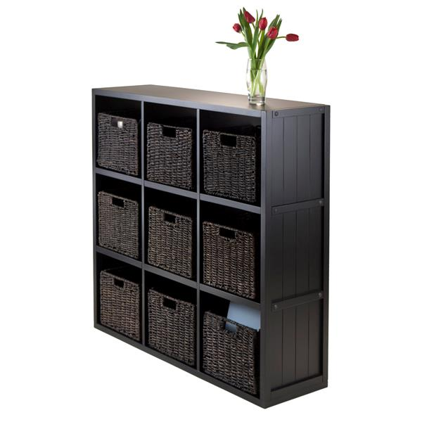 Winsome Wood Timothy 37.76 x 40.08-in 9 Cube Storage Shelf With 9 Baskets Black