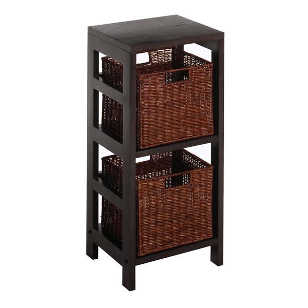 Winsome Wood Leo 29.21-in x 13.39-in x 11.22-in Espresso 2-Basket Storage Shelf