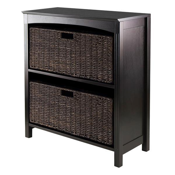 Winsome Wood Terrace 25.95 x 30-in 3 Piece Storage Shelf With Baskets Dark Espresso