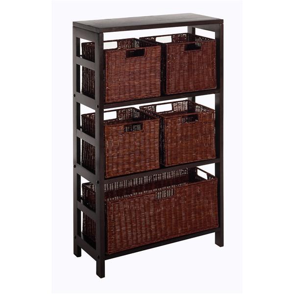 Winsome Wood Leo 42-in x 25.20-in x 11.20-in Dark Espresso 5-Basket Storage Shelf