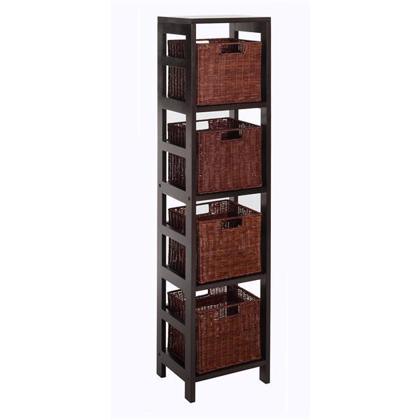 Winsome Wood Leo 55-in x 13.39-in x 11.22-in Dark Espresso 4-Basket Storage Tower Shelf