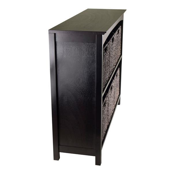 Winsome Wood Terrace 37 x 30-in 7 Piece Storage Shelf With Baskets Dark Espresso