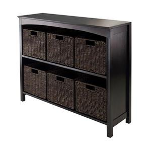 Winsome Wood Terrace 37 x 30-in 7 Piece Storage Shelf With Baskets Dark Espresso