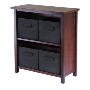 Winsome Wood Verona 28 x 30-in 2 Section Storage Shelf With 4 Baskets Walnut Black