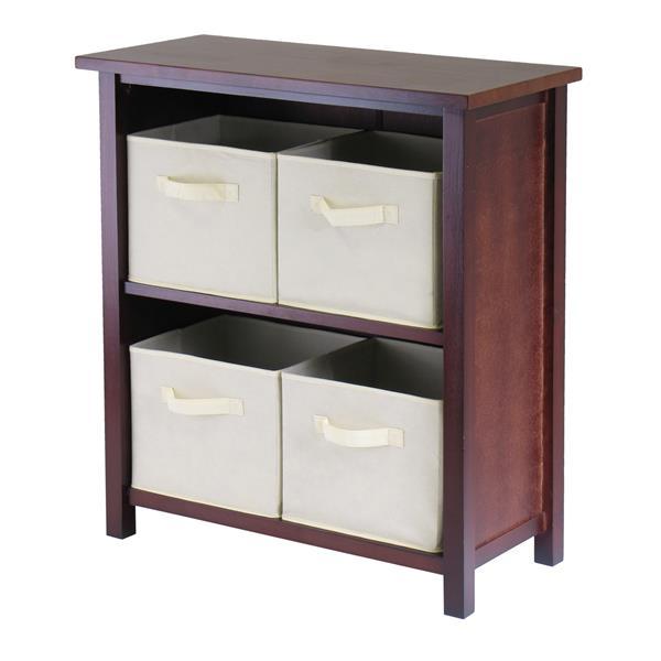 Winsome Wood Verona 28 x 30-in 2 Section Storage Shelf With 4 Baskets Walnut and Beige