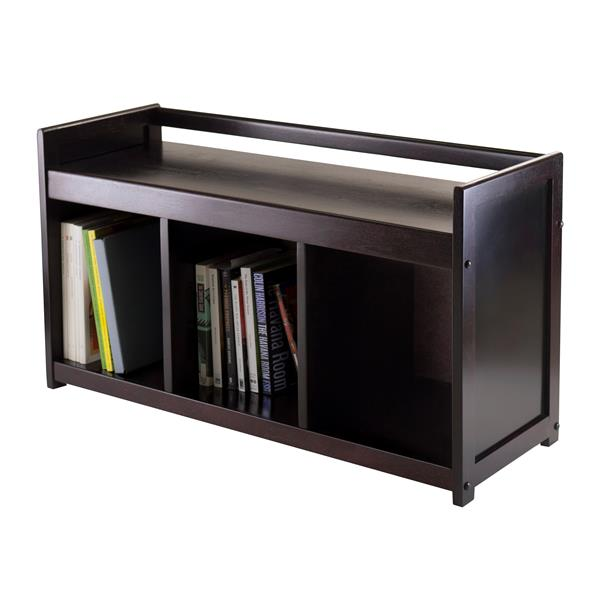 Winsome Wood Simpli Home Adams 36-Lbs Heigth 20.87-In Length 37.40-In Depth 13.50-In Dark Espresso 3 Cubby Storage Indoor Bench