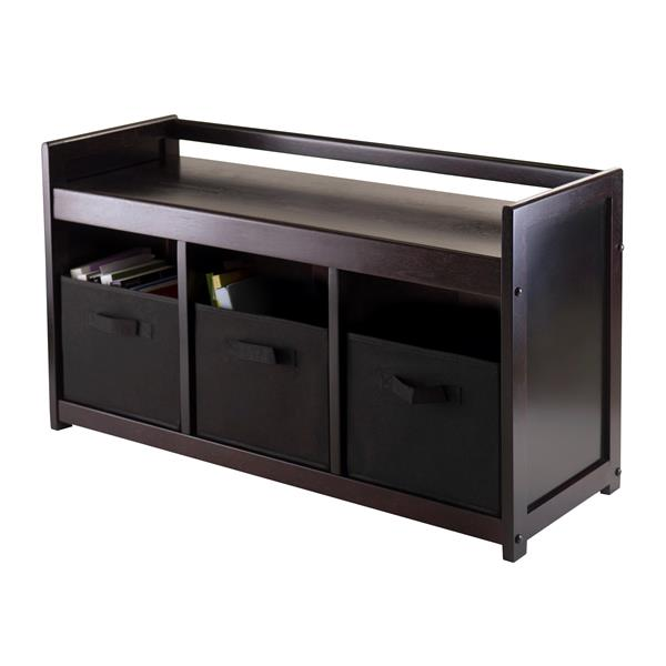 Winsome Wood Addison Storage Bench - 3 Baskets - 37.4-in - Espresso