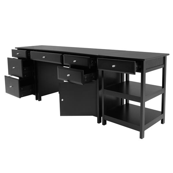 Winsome Wood Delta Black 3-Piece Wood Home Office Set