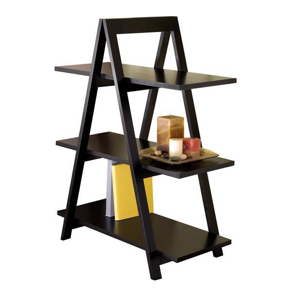 Winsome Wood Aaron 38.30-in x 30.10-in x 15.20-in Black 3-Tier A-Frame Shelf