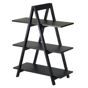 Winsome Wood Aaron 38.30-in x 30.10-in x 15.20-in Black 3-Tier A-Frame Shelf