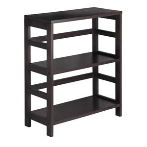 Winsome Wood Leo 29.21-in x 25.20-in x 11.22-in Wood Espresso 2-Tier Storage Bookshelf