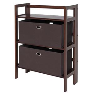 Winsome Wood Torino 27.8 x 39-in 3 Tier Folding Bookshelf With 2 Baskets Walnut