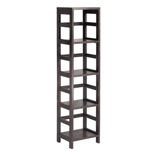 Winsome Wood Leo 54.80-in x 13.39-in x 11.22-in Espresso 4-Tier Tower Shelf