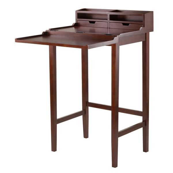 Winsome Wood Brighton 26-in x 46-in Walnut 2 Drawer High Desk