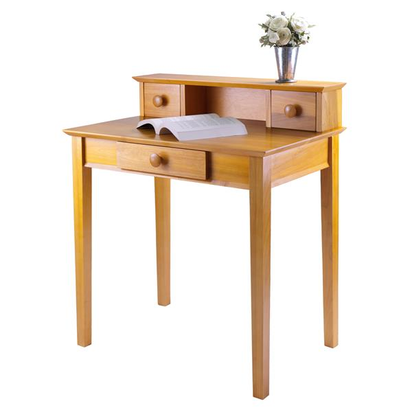 Winsome Wood Studio 30-in x 35-in Honey Writing Desk with Hutch