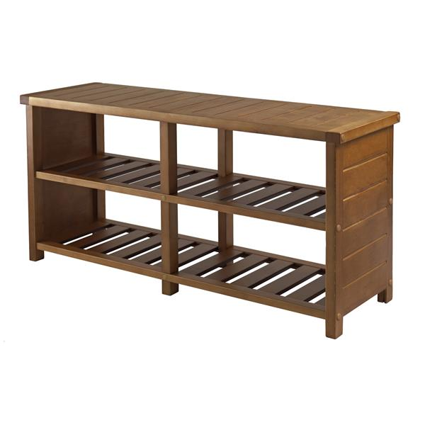 Winsome Wood Keystone Shoe Bench - 38-in x 18-in - Wood - Teak